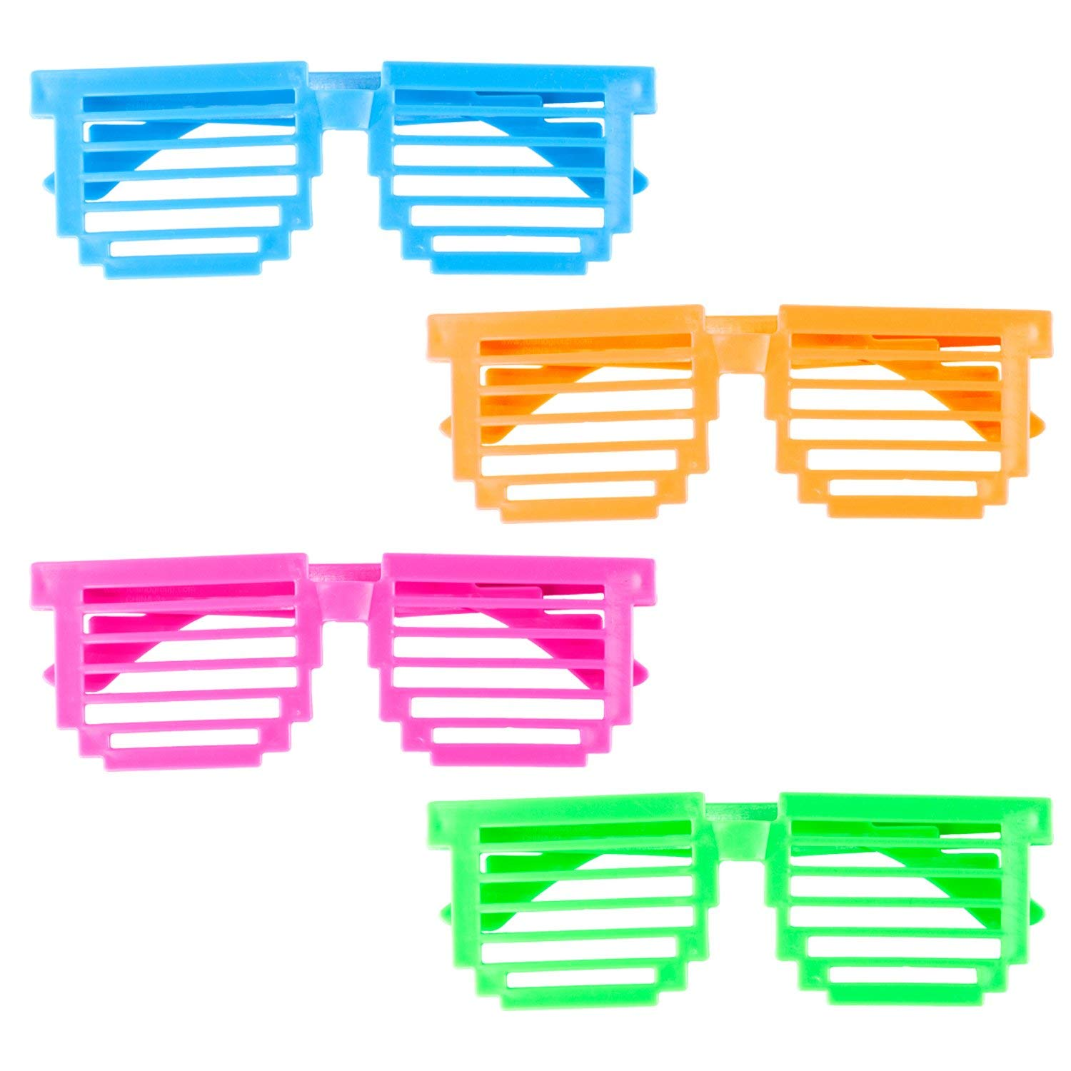 981f3744784 Get Quotations · Plastic Color Assorted Square Shutter 80s Disco Retro  Style Children Unisex Glasses Shades Eye Wear for