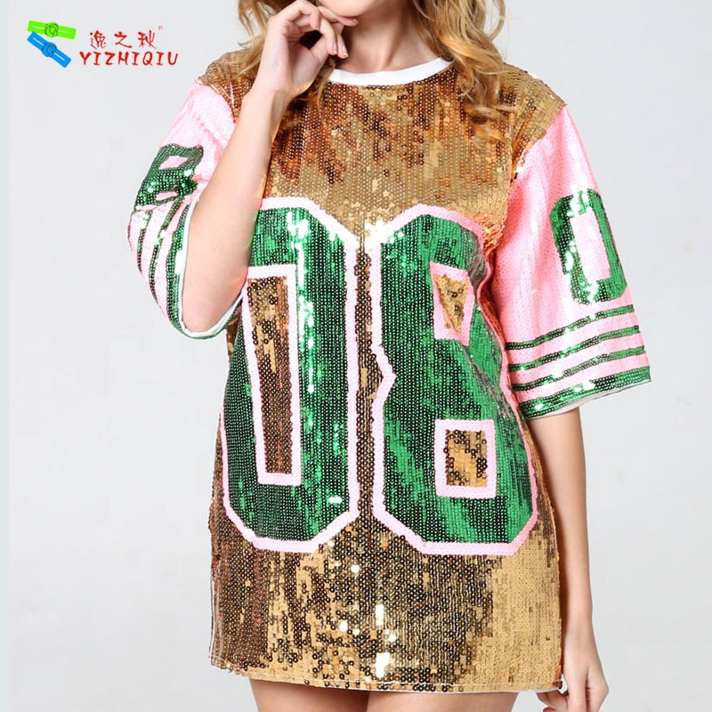 YIZHIQIU Sequin Letter Printed Loose T Shirt Skirt Woman Dress