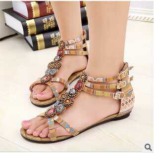 SUMMER STYLE Free shipping 2015 Flat Sandals Ankle T strap Fashion Trend Sandals Bohemia Nation Flat