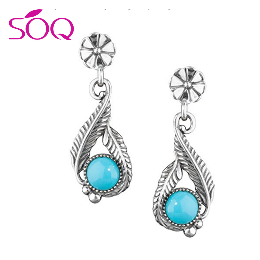 Sterling Silver stunning blue Sleeping Beauty turquoise Drop Earrings With leaf patterned silverwork