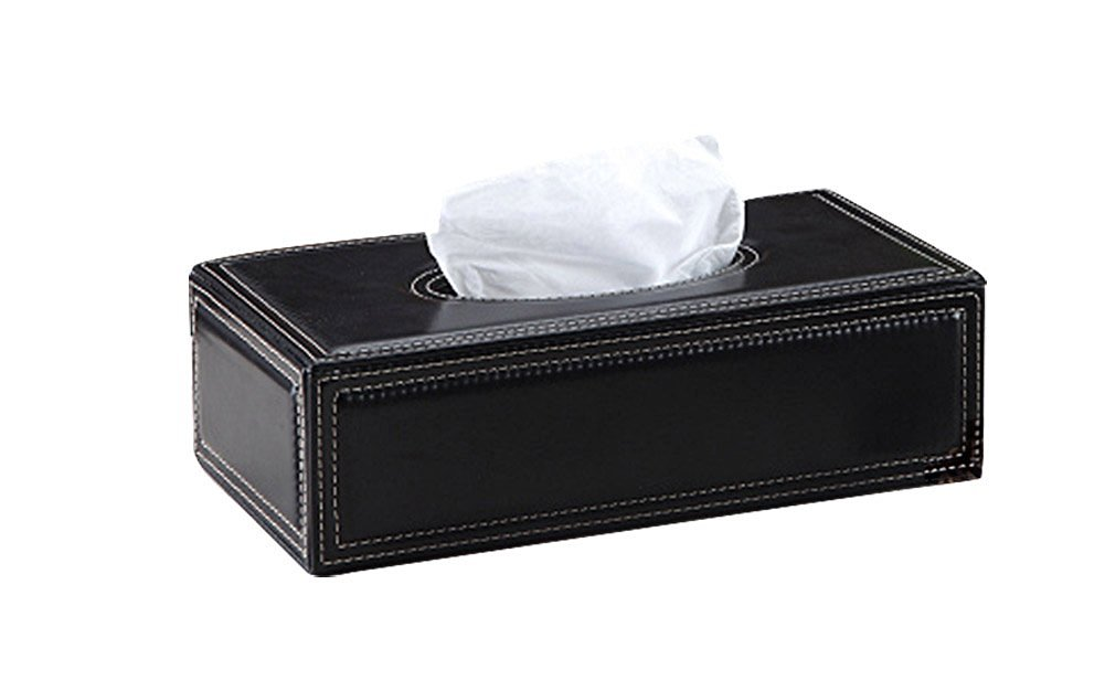 R-LivE European-Style PU Leather Tissue Box For Automotive [Black]