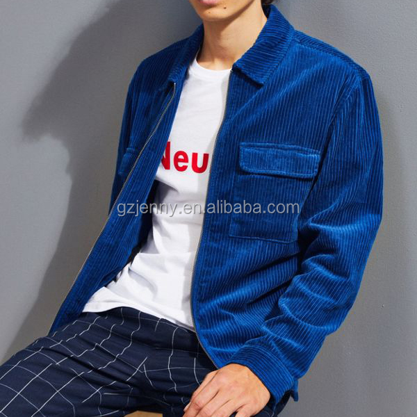 High Street Fashion Casual Uitloper Mannen Jas Custom Mannen Corduroy Zip Shirt Jassen