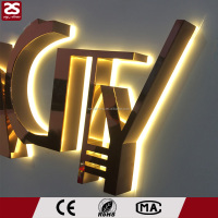 outdoor 3D stainless steel metal letter logo back lighted led channel letter sign
