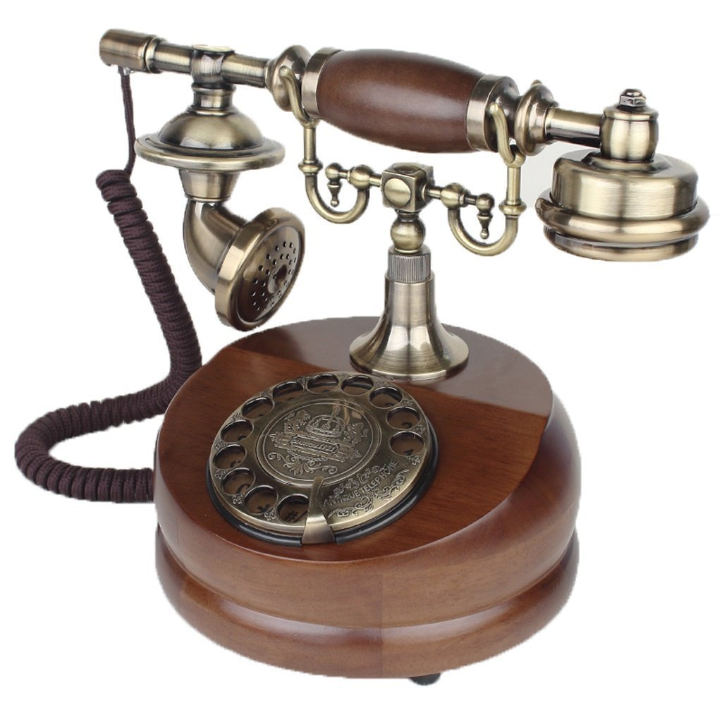 WENBO HOME- Antique Retro European - Style Old Telephone Solid Wood Household Rotary Dial Metal Plane (Size : Rotating Section)