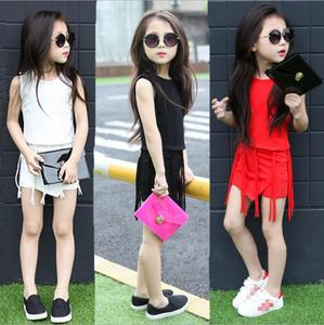 LM3468Q summer girl skirts suits fashion tassel children sets