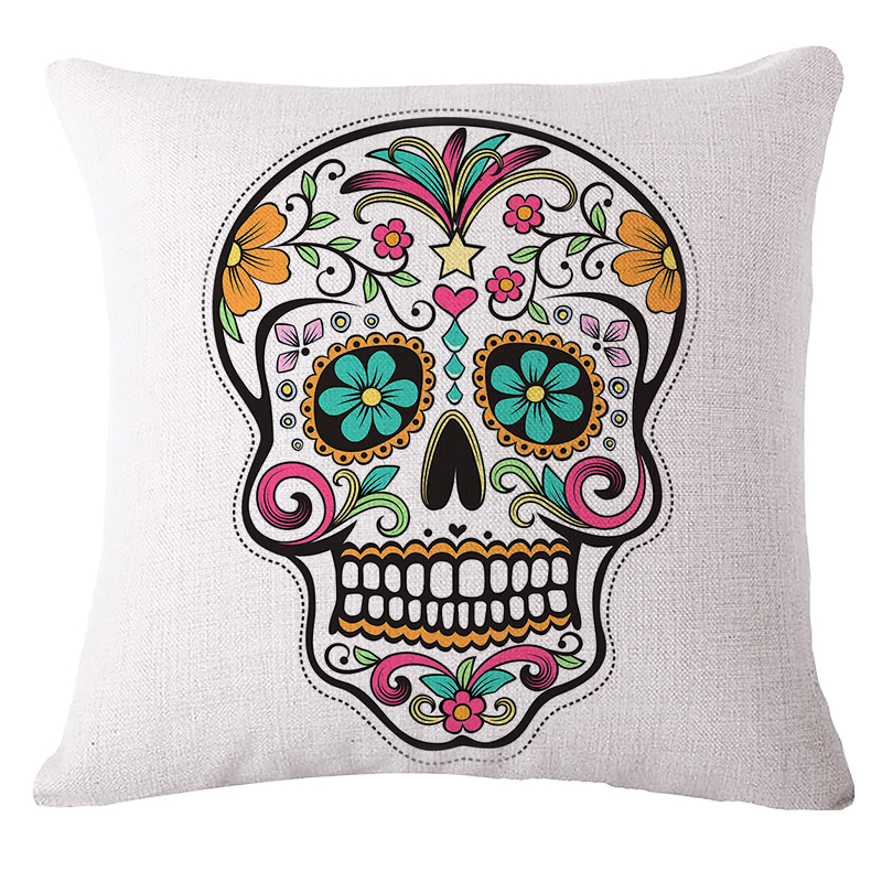 square pillow cases 4pcs digital printing mexican skull cushion cover