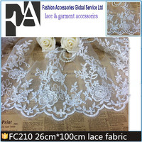 FC210 Direct Factory Embroidered Fabric Lace Wedding Dresses White Floral French Lace Fabric Market in Dubai
