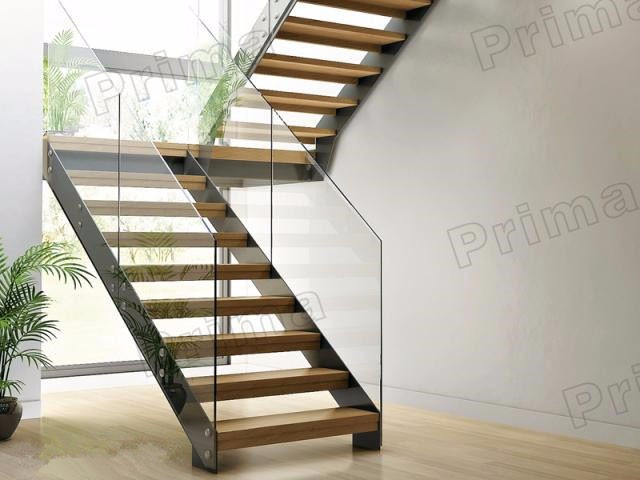 Prefab Steel Stair Stringers With Railings And Handrails Indoor