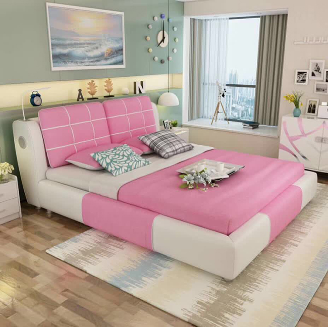 Pink Color Modern Fabric Princess Bedroom Set Girls Beds - Buy Girls  Bed,Girls Princess Beds,Pink Bed Product on Alibaba.com