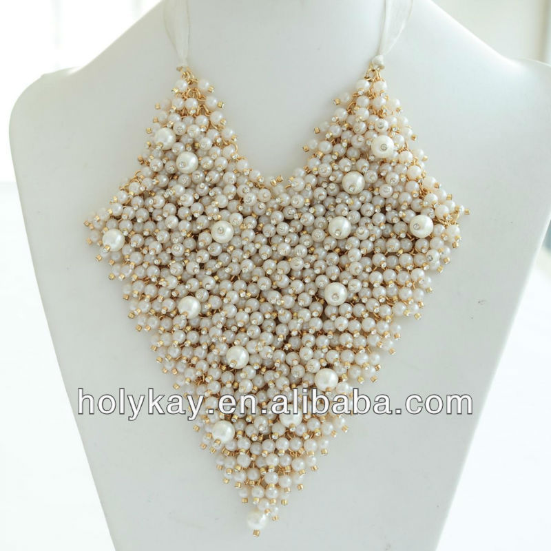 Fine pearl cluster collar necklace,gold necklace for wedding,princess series jewelry