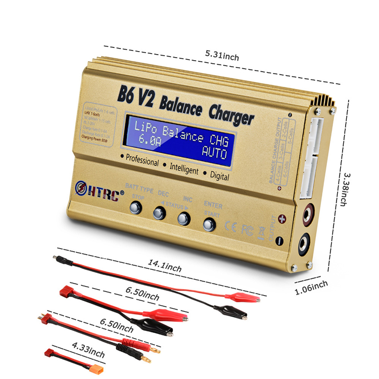 HTRC B6 <strong>V2</strong> 80W Professional Digital <strong>Battery</strong> Balance Charger Discharger for LiHV LiPo LiIon LiFe NiCd NiMH PB <strong>Battery</strong>