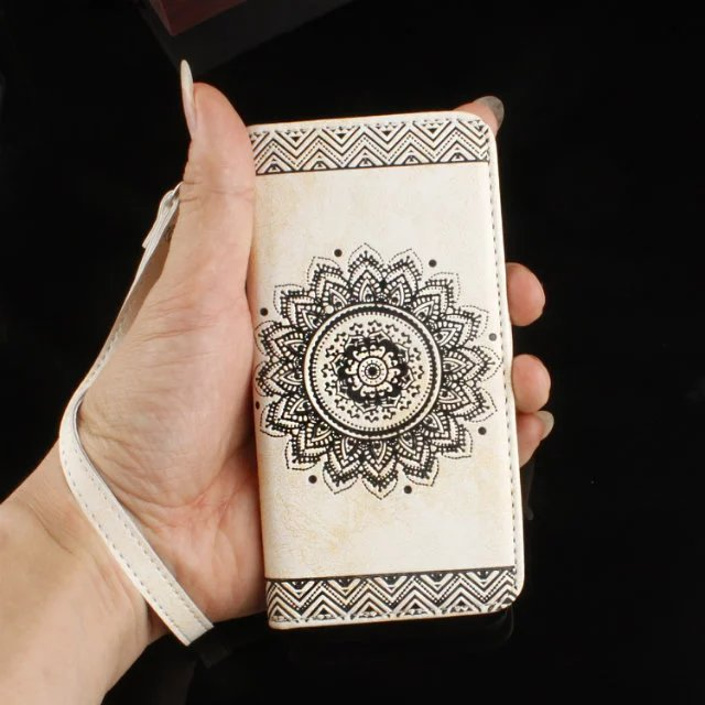 Stand Flip Leather Wallet Case Cover Card Slot mandala printed Pattern flip case For Huawei P9 <strong>iPhone</strong> 4 5 6 6Plus s7