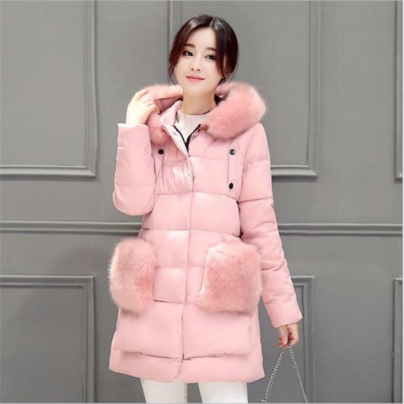 font b Winter b font 2016 New Fashion Women Coat Hooded Fur collar Thicken Warm