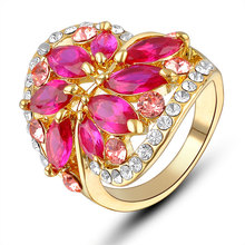 2018 New design Eye-catched Red gold plated ruby ring