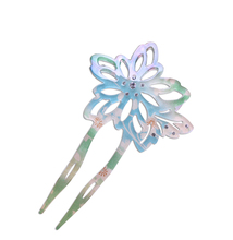 acrylic flower kanzashi u shaped stick pin in plastic cellulose with fabric for women Kimono hair fork