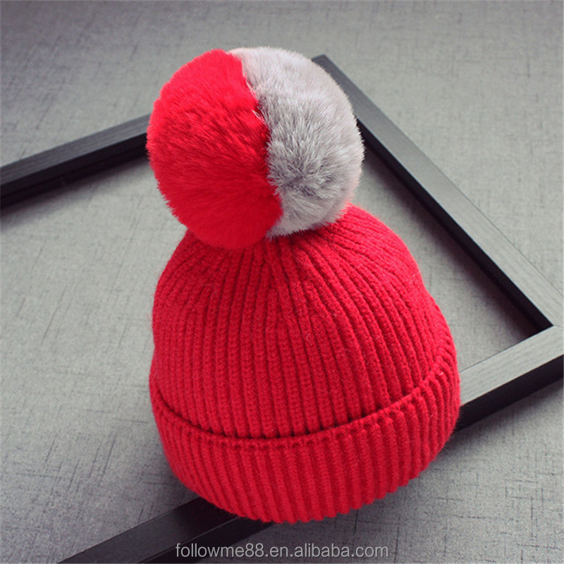7254a8a5235 wholesale child winter pom pom hat custom hand made kids knitted pom beanie  hat with top fur ball