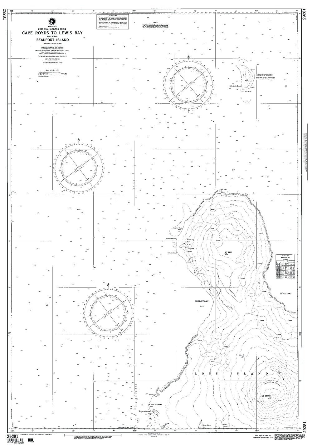 NGA Chart 29281WP: Cape Royds To Lewis Bay Incl Beaufort; 36 X 54; WATERPROOF