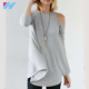 New fashion women's summer half sleeve round neck light blue cold shoulder tunic