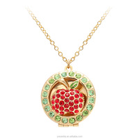 yiwu jewelry new products gold apple shape ,round case necklace ,covered full red diamonds