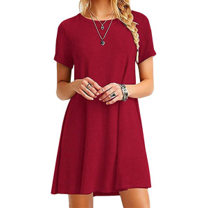 Women clothing 2019 short sleeve loose casual t-shirt dress plus size