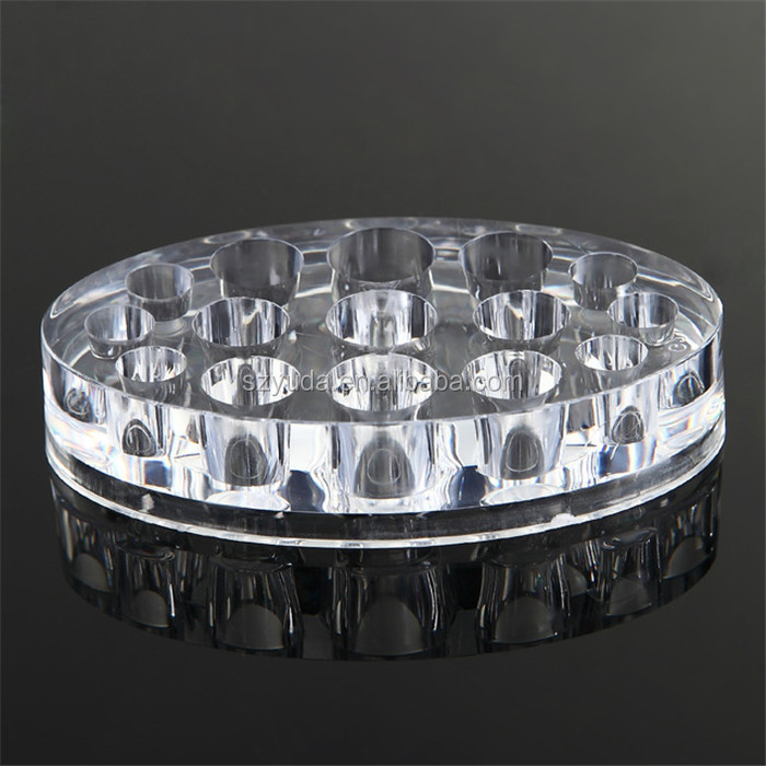 Custom 15 holes Clear Acrylic round pen holder Pigment Cup Rack Acrylic CNC Permanent Tattoo ink Cup Holder Stand