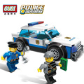 GUDI City Police Blocks Car Small Particles Model Building Kits Assembled Toys Educational DIY Toys for