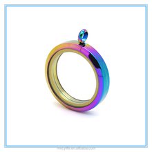 MECYLIFE latest design colorful stainless steel clear locket pendant
