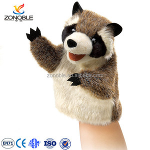 customized soft stuffed animal hand puppet for theater funny plush raccoon hand puppet toy