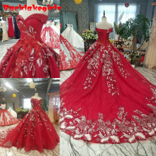 14650 Wedding Dress 2018 New The red Full Sleeve O-neck Luxury Embroidery Noble Sweep Train Ball Gown Vintage Vestido De Novias
