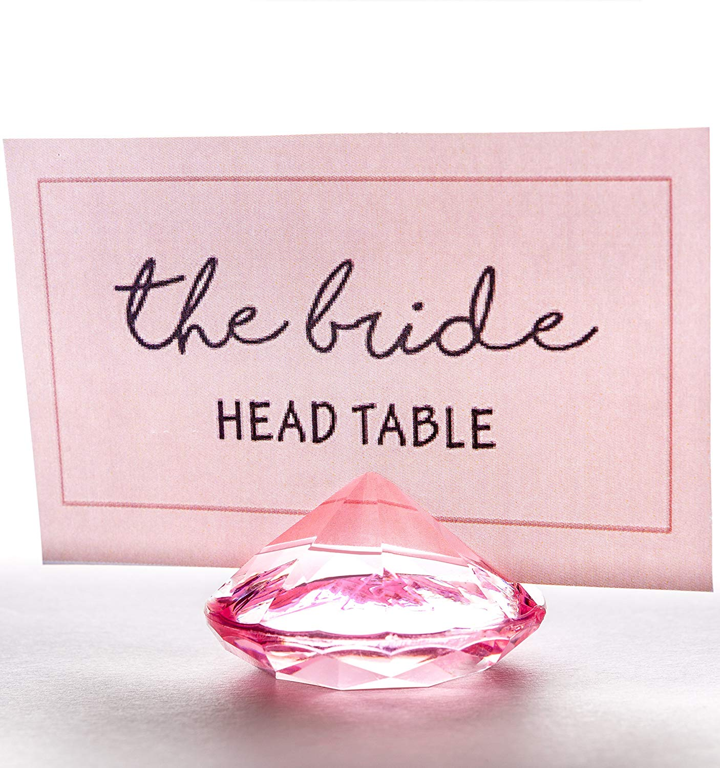 PINK Diamond Table Number & Place Card Holders, Set of 20. Sturdy Acrylic Name Card Holders for Wedding & Party Table Decorations