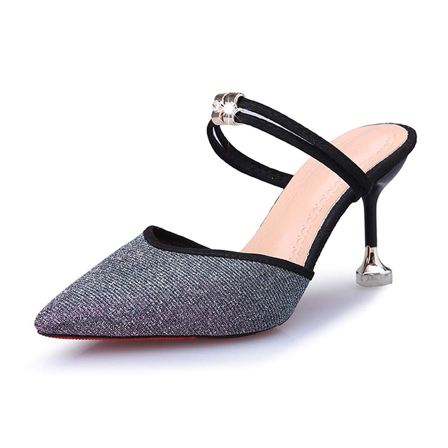 ad8861edf23 Get Quotations · Btrada Women s Sexy Heeled Slide Sandals Pointy Toe Slip On  Ankle Strap Kitten Heel Mules Pumps