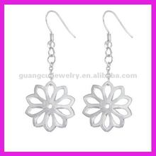 fashion stainless steel earrings allergy dangle flower