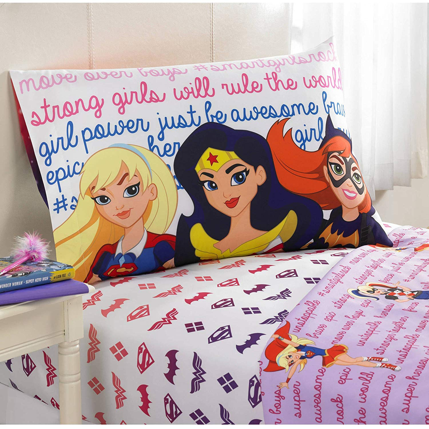 A&L 3 Piece Kids Pink Dc Superhero Girls Sheet Set Twin, Purple Wonder Women Bedding Superwomen Batgirl Bed Sheets Batman Superman Logo Cloud Star Tv Show Action Fiction Red Yellow Soft, Polyester