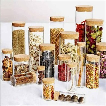 Empty 30ml 50ml 100ml Glass Bottles Dry food Container jar with Cork Stopper Transparent Clear Bottles