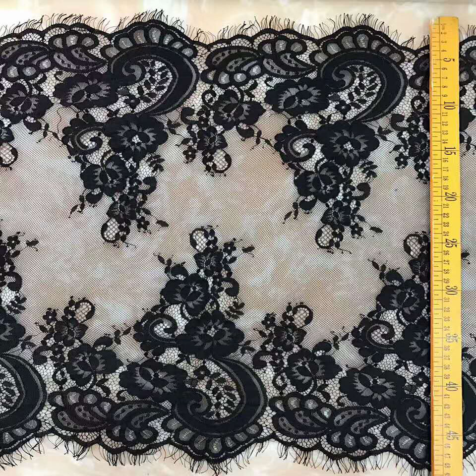 2018 Wholesale stretch elastic black eyelash lace trim, eyelash fabric lace trimming