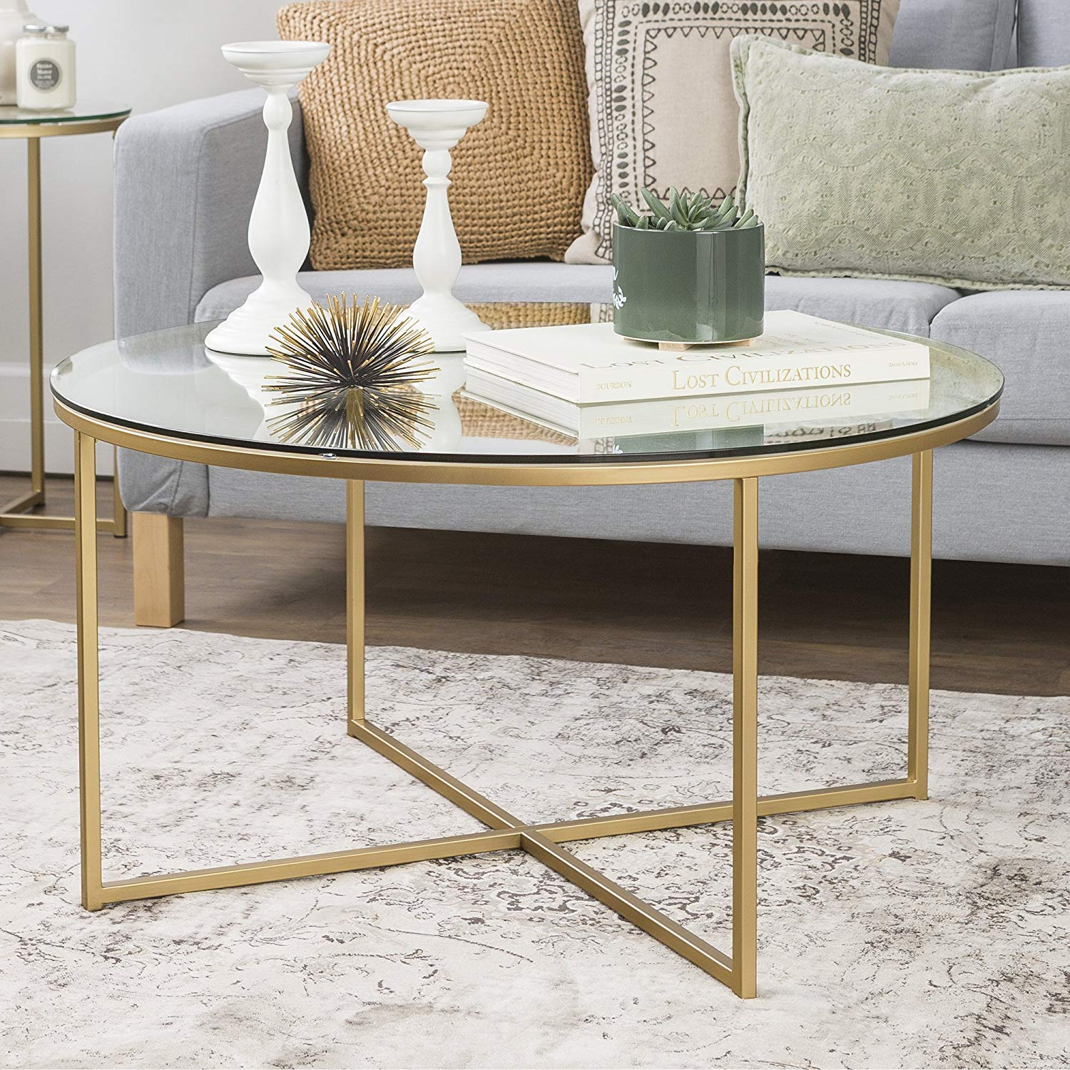 36 inch, Round with X-Base Coffee Table - Glass/Gold, Sturdy Metal Frame, Painted Metal Base, Glass top, Living Room, Bundle with Our Expert Guide with Tips for Home Arrangement