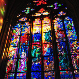 Color glazing Cathedral church tempered design stained glass panels manufacture