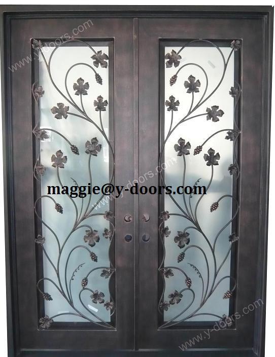 Nueva flores dise o de la puerta de hierro forjado doble for Diseno puertas hierro