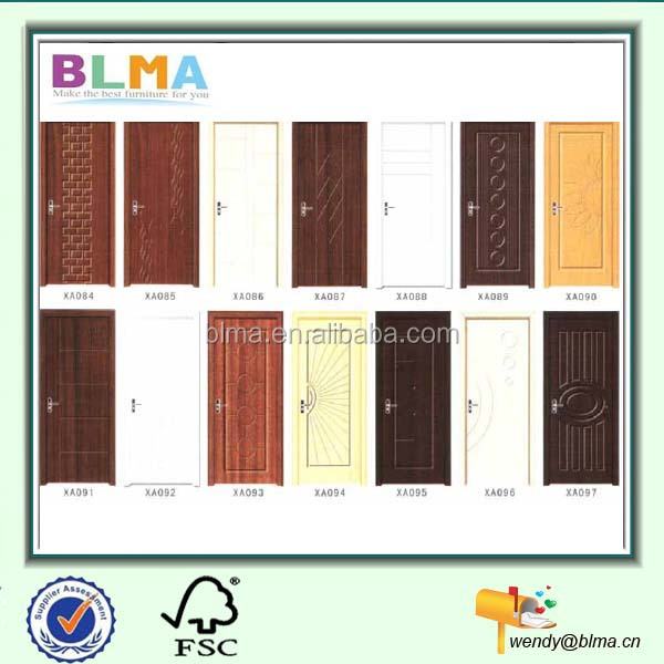 latest design pvc bathroom door with door handle and door hinge