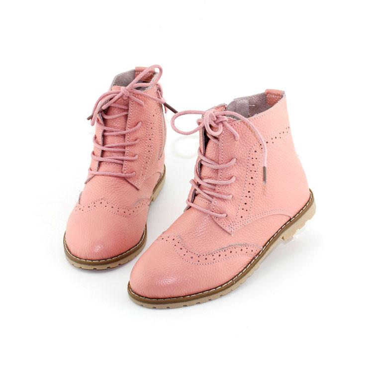 2017 primavera niñas tobillo botas de cuero genuino niños Martin botas princesa Rosa botas de verano calado blanco zapatos talla 26 37