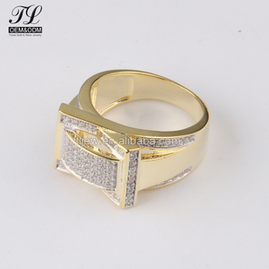 Good quality hip hop 14k solid gold cz ring+best place to buy gold jewelry