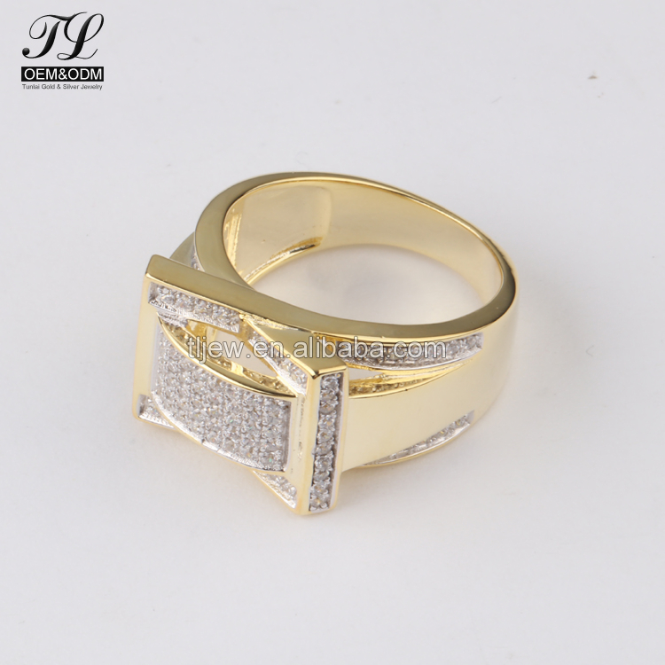 Good quatlity hip hop 14k solid gold cz ring+best place to buy gold jewelry
