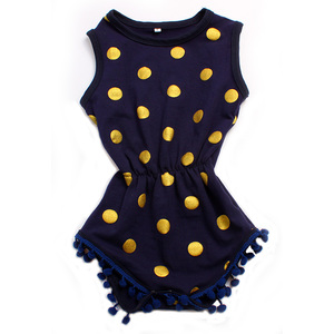 wholesale boutique clothing china kids clothing navy blue gold point girls romper