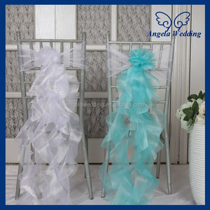 CH098D Wholesale cheap elegant fancy turquoise white organza wedding curly willow chair sashes