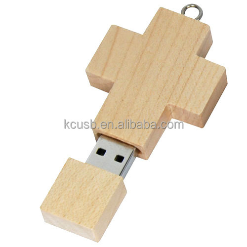 Personalized gift usb stick wood cross pen drive 8gb engraved logo