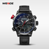High Quality Sport Casual Men Leather Strap Watch WEIDE Gift Watch For Man
