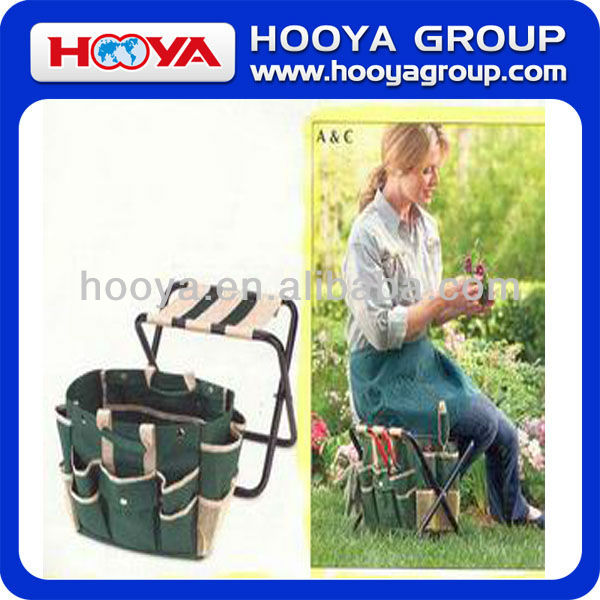 Cheap Gardening Combination Foldable Tool Stool with Detachable Tote