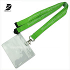 customized LOGO printing strap id card coach badge holder lanyard with vinyl pouch