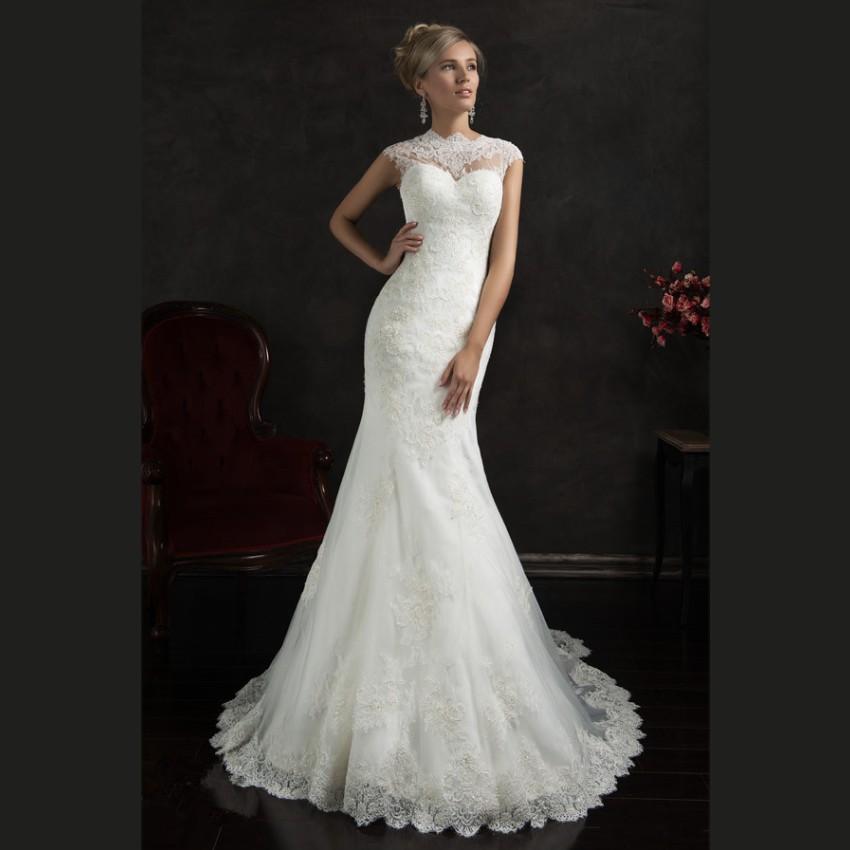 20 Elegant Simple Wedding Dresses Of 2015: 2015 Elegant White Lace Mermaid Wedding Dresses Court