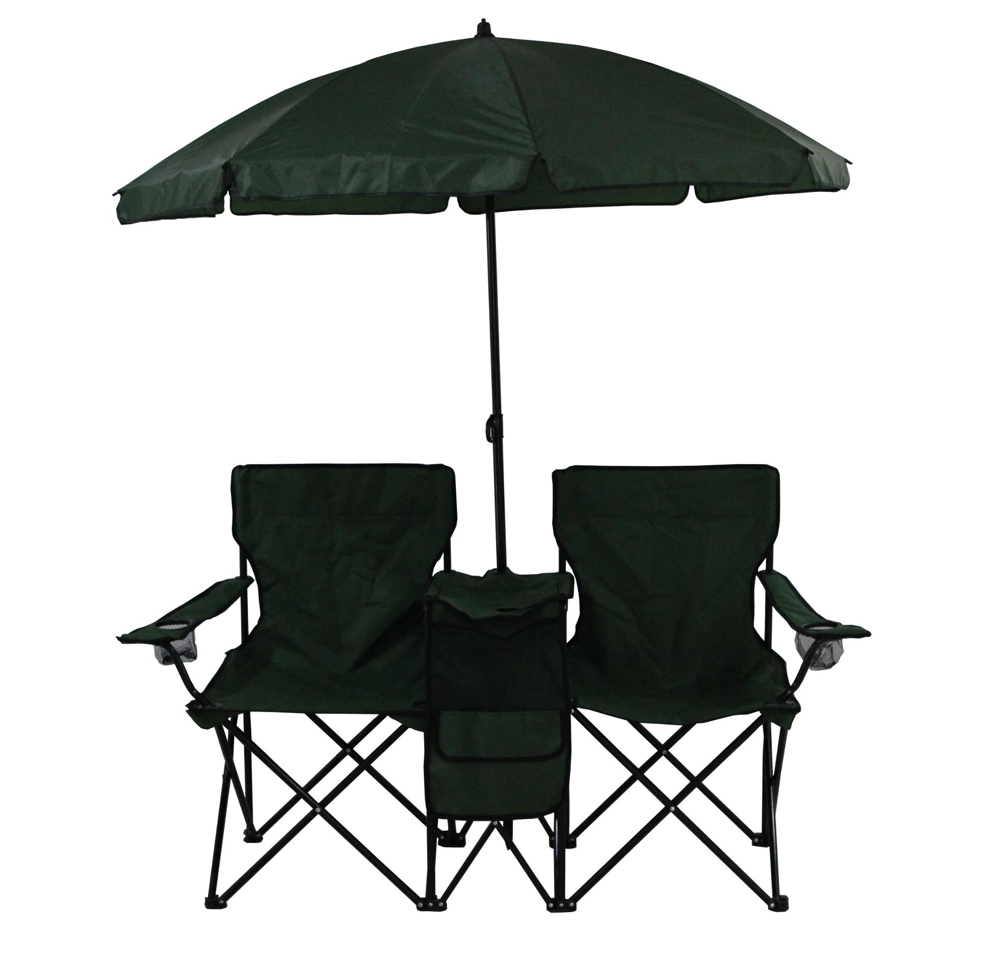 Double Seat Camping Chair With Umbrella Outdoor Folding Beach